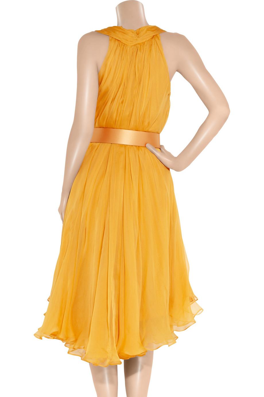 Alexander Mcqueen Belted Silk Chiffon Dress In Yellow Lyst