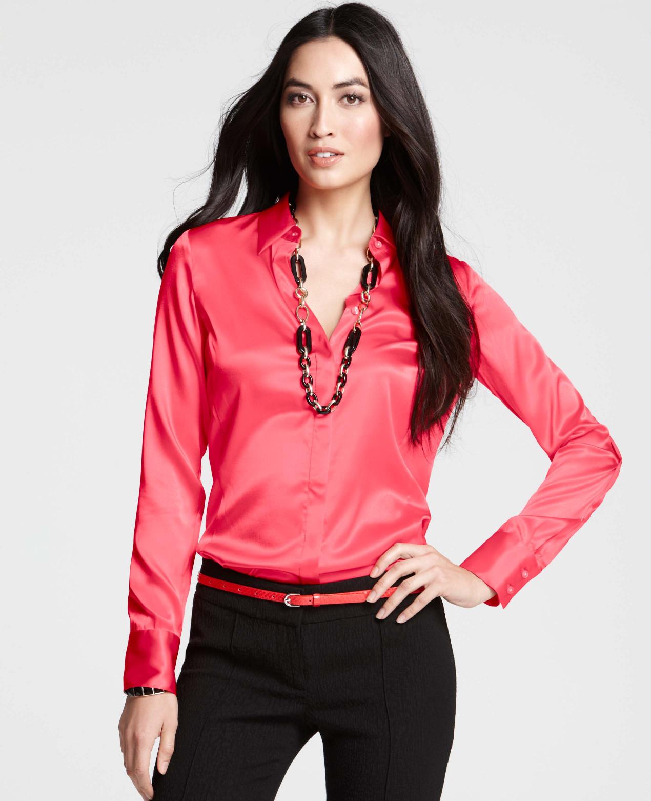 2280dd84193f6a Lyst - Ann Taylor Silk Legacy Button Down Blouse in Pink