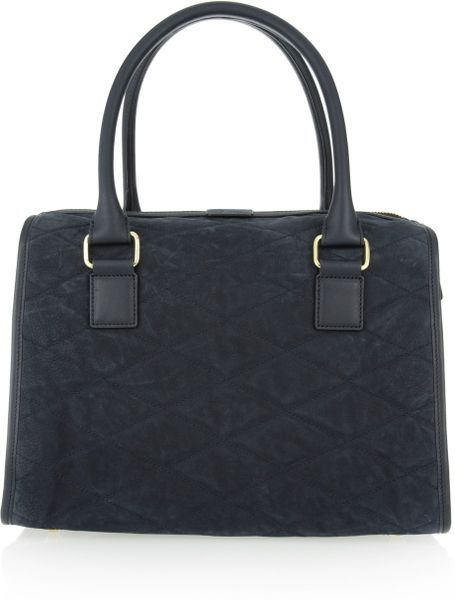 A P C Quilted Suede Bowling Bag In Blue Navy Lyst