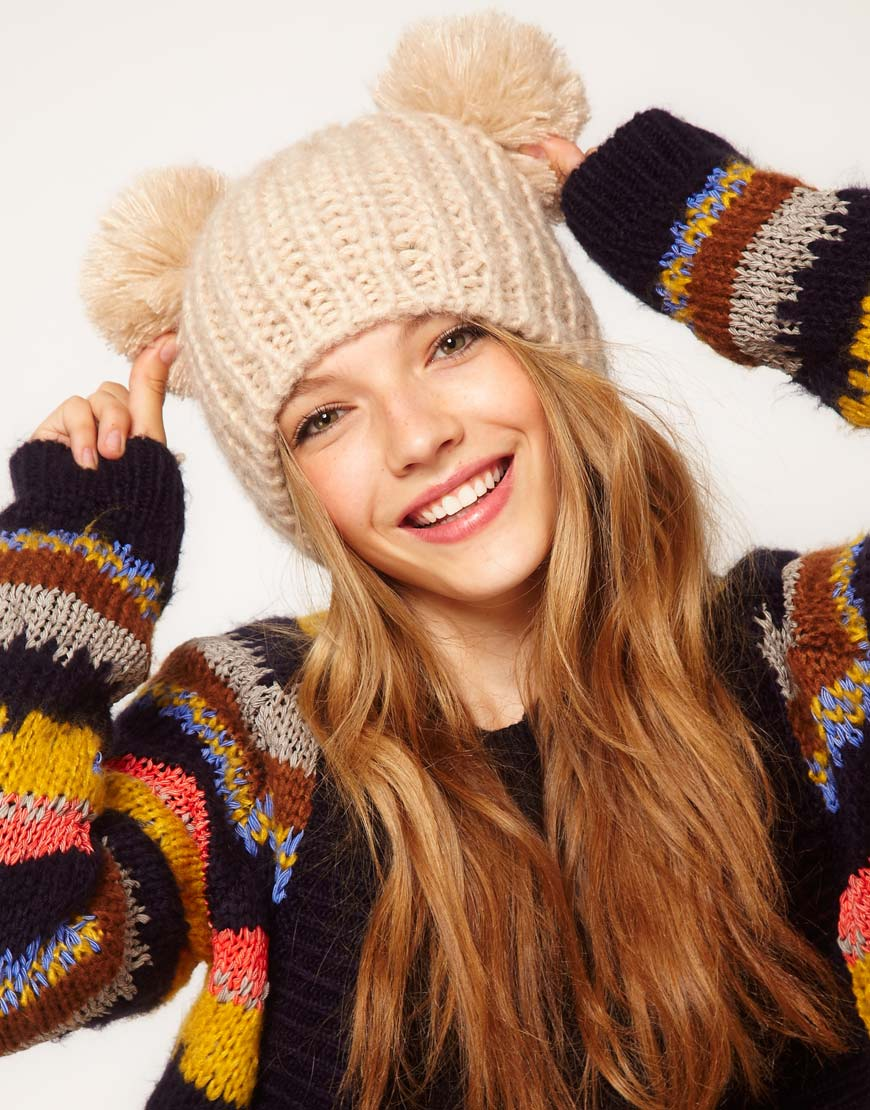 Lyst - ASOS Rib 2 Pom Beanie in Natural 535c8f90428
