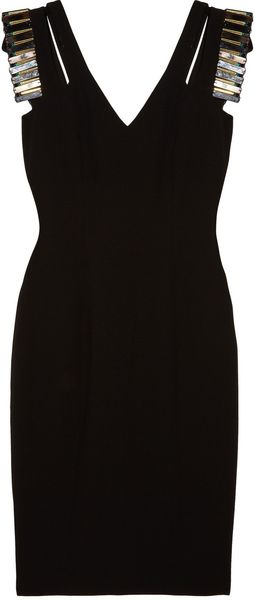 Badgley Mischka Embellished Doublestrap Crepe Dress - Lyst