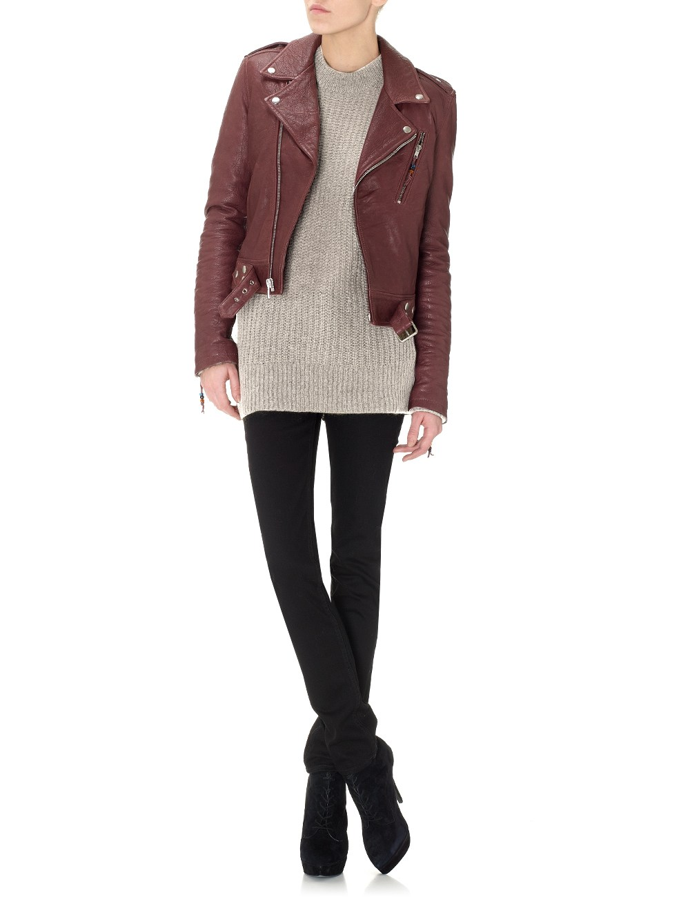 Blk Dnm Cropped Leather Jacket In Purple Burgundy Lyst
