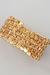 Cara Accessories Crystal Spiral Bracelet Golden - Lyst