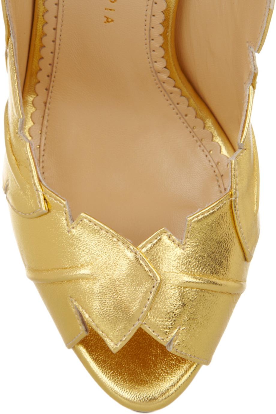 Charlotte Olympia Leaf Me Alone Metallic Leather Sandals