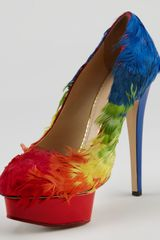 Charlotte Olympia Dolly Rainbow Feathered Pump - Lyst