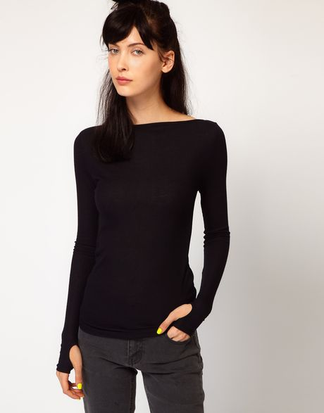 Cheap Monday Long Sleeve Top with Slash Neck and Thumb Holes in Black