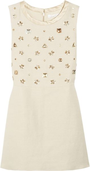 Chloé Embellished Cotton and Flax Blend Dress - Lyst