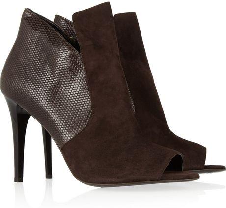 Diane Von Furstenberg Ali Suede and Texturedleather Ankle Boots in Brown