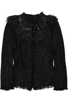 Giambattista Valli Feather trimmed Metallic Tweed Jacket - Lyst