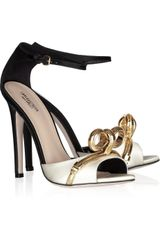 Giambattista Valli Chain Bow Twotone Satin Sandals - Lyst
