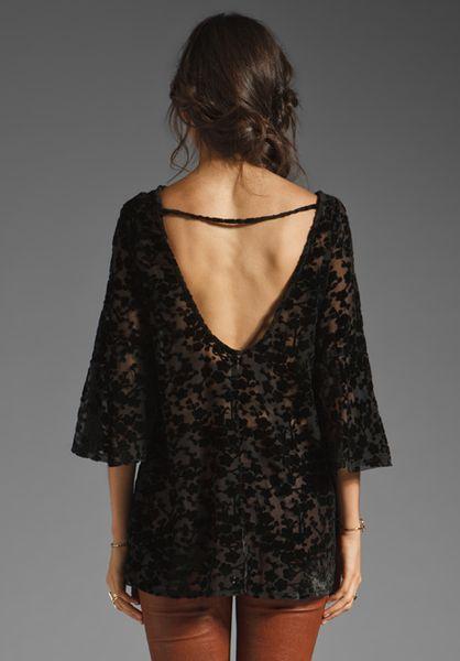 Gypsy Junkies Blossom Velvet Lace Tunic In Black Noir Lyst