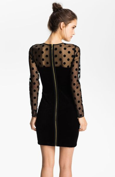 Juicy Couture Sheer Polka Dot Velvet Dress In Black Lyst