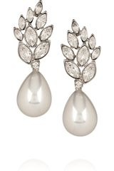 Kenneth Jay Lane Crystal and Faux Pearl Drop Earrings - Lyst