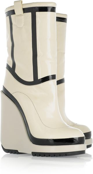 Marc Jacobs Patentleather Wedge Boots - Lyst