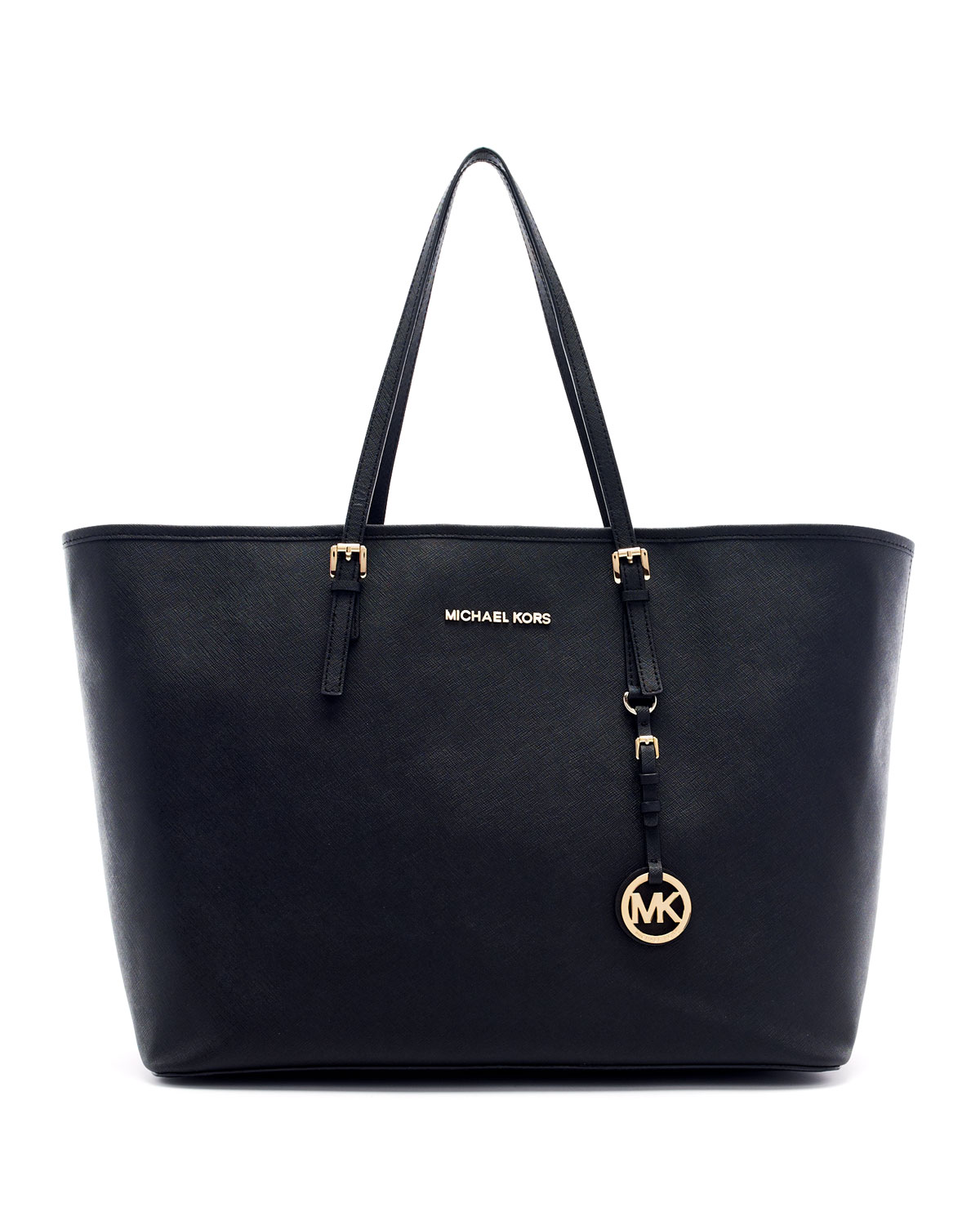 michael michael kors medium jet set saffiano travel tote in black lyst. Black Bedroom Furniture Sets. Home Design Ideas