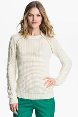Michael by Michael Kors Zip Raglan Sleeve Sweater - Lyst