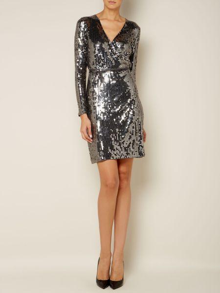Michael Michael Kors Long Sleeve Sequin Wrap Dress In