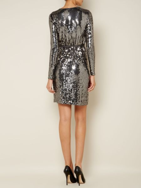 Michael Michael Kors Long Sleeve Sequin Wrap Dress In