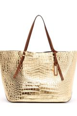 Michael Kors Gia Metallic Crocodileembossed Leather Tote Bag - Lyst