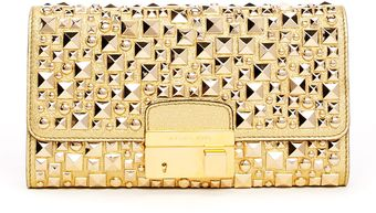 Michael Kors Gia Studded Metallic Leather Clutch Bag - Lyst