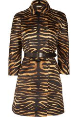 Michael Kors Tiger Print Cotton Satin Trench Coat - Lyst