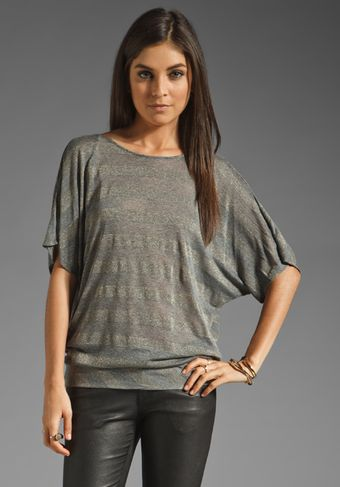 Michael Stars Short Sleeve Front To Back Drape Neck Top - Lyst