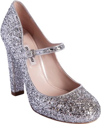 Miu Miu Glittered Round Toe Mary Jane - Lyst
