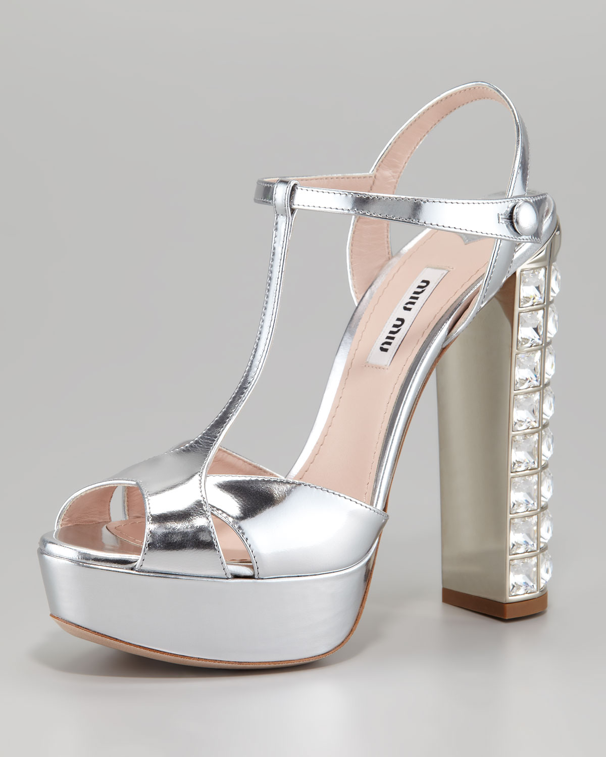 79b8d6819106 Miu Miu Jeweled Heel Sandal in Metallic - Lyst