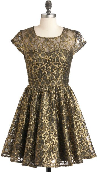 Modcloth Golden Garden Dress in Pink