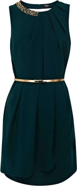 Oasis Paloma Embellished Dress in Green - Lyst