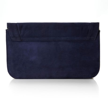 Pied A Terre Primose Suede Foldover Clutch Bag in Blue (navy)