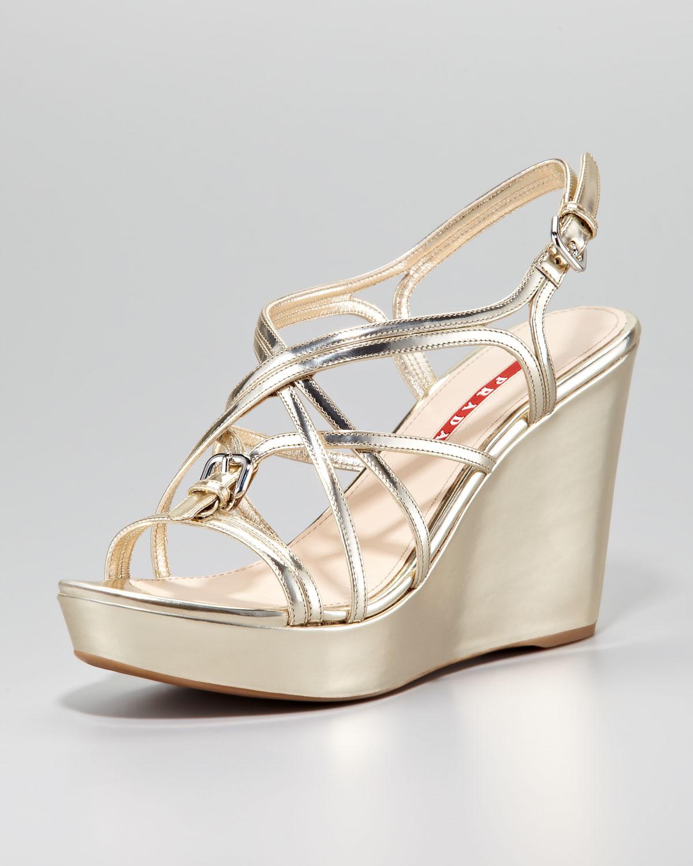7959127c5feb Lyst - Prada Metallic Strappy Wedge Sandal in Metallic