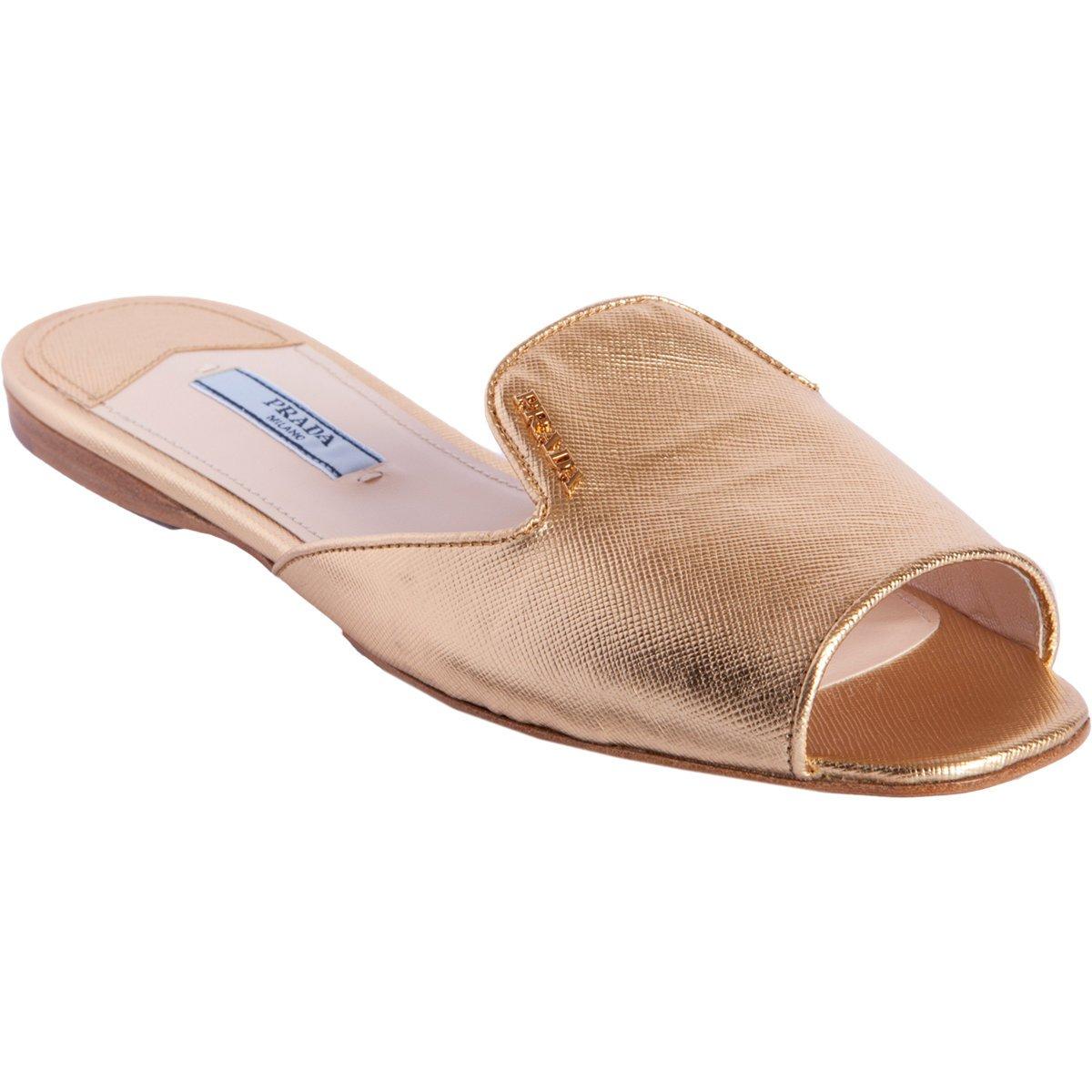 Prada Peep Toe Slipon Sandal In Gold Lyst