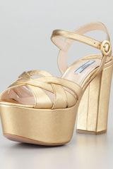 Prada Metallic Leather Platform Sandal  - Lyst