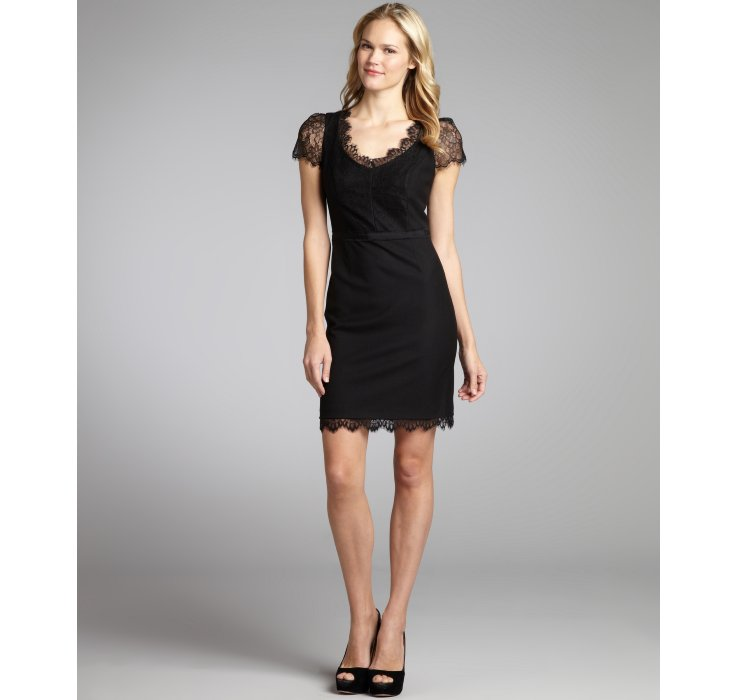 Rebecca Taylor Wool Woven Scalloped Lace Trim Cap Sleeve Dress In