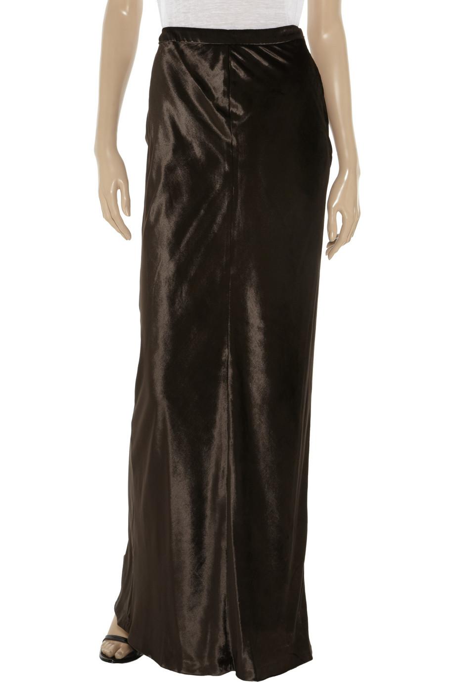 t by wang velvet maxi skirt in brown lyst
