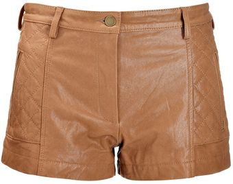 Thakoon Addition Caramel Quilted Leather Shorts - Lyst