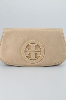 Tory Burch Glitter Logo Clutch Bag Light Gold - Lyst
