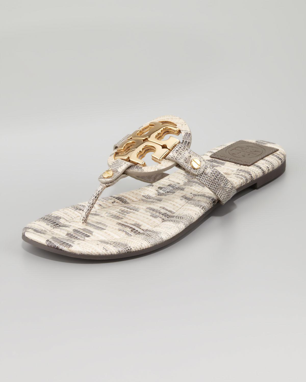 67ba30674ea7 Lyst - Tory Burch Womens Miller2 Snakeprint Thong Sandal Natural in ...