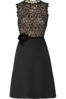 Valentino Silk Crepe and Lace Dress - Lyst