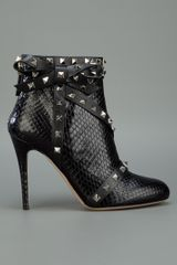 Valentino Strappy Studded Ankle Boot in Black - Lyst
