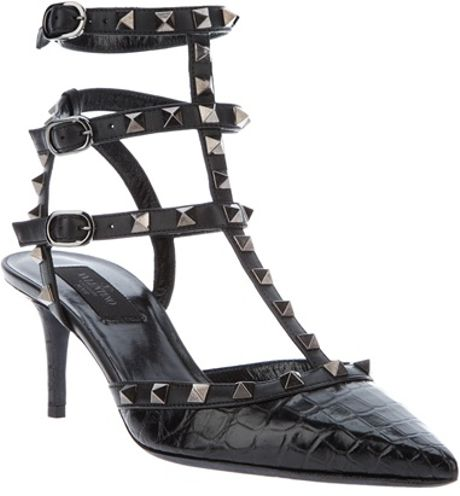 Valentino Studded Sandal in Black - Lyst