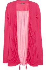 Vera Wang Paneled Fineknit and Silkchiffon Cardigan - Lyst
