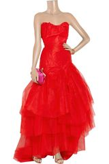 Vivienne Westwood Gold Label Paper Bag Tiered Silktaffeta and Tulle Gown in Red - Lyst