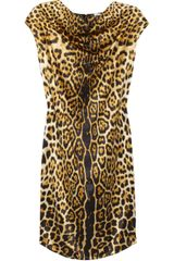 Yves Saint Laurent Leopardprint Silksatin Dress - Lyst