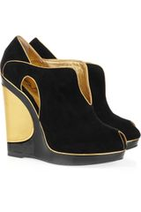 Saint Laurent Metallictrimmed Suede Wedges - Lyst