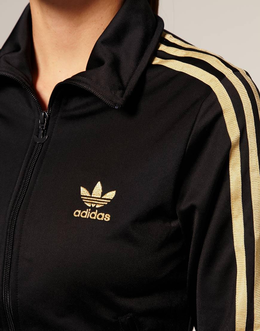 3756ca59ceb2 Lyst - adidas Gold Stripe Classic Track Jacket in Black