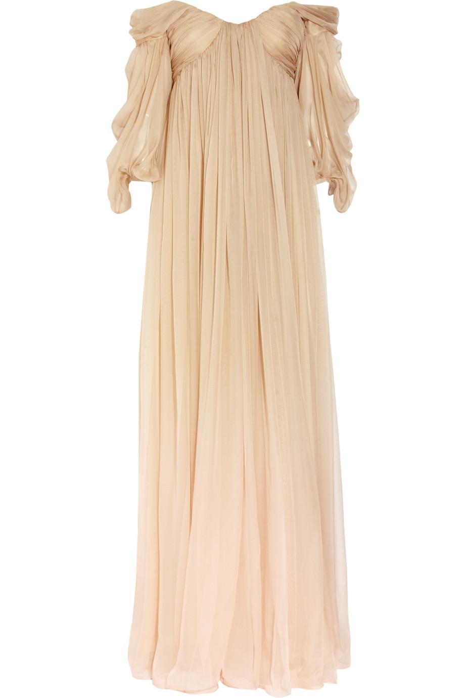 Alexander Mcqueen Degrad 233 Silk Chiffon Gown In Beige