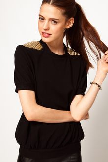 ASOS Collection Asos Sweatshirt with Short Sleeves and Stud Trim - Lyst
