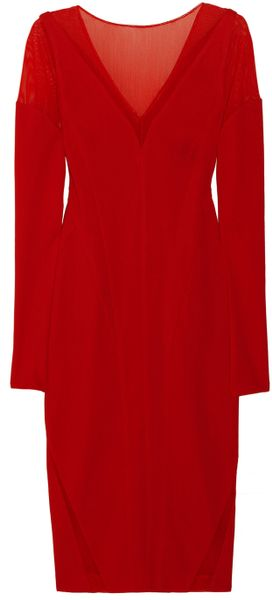 Donna Karan New York Mesh and Stretchcrepe Jersey Dress - Lyst